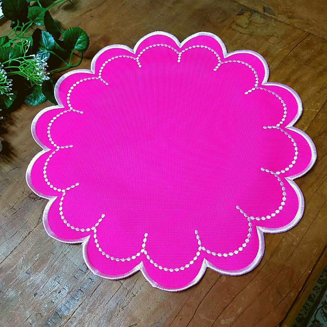 Jogo Americano Acabamento em Bordado - Pink e Rosa (1un)