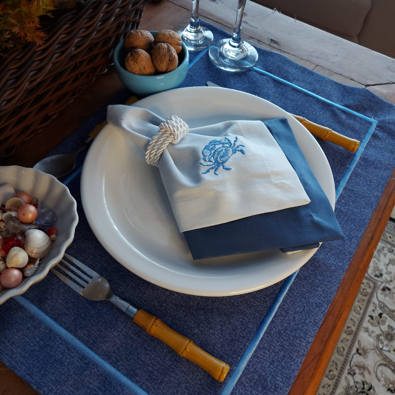 Kit Mesa Posta Completo Tecido Azul - Caranguejo (2un)