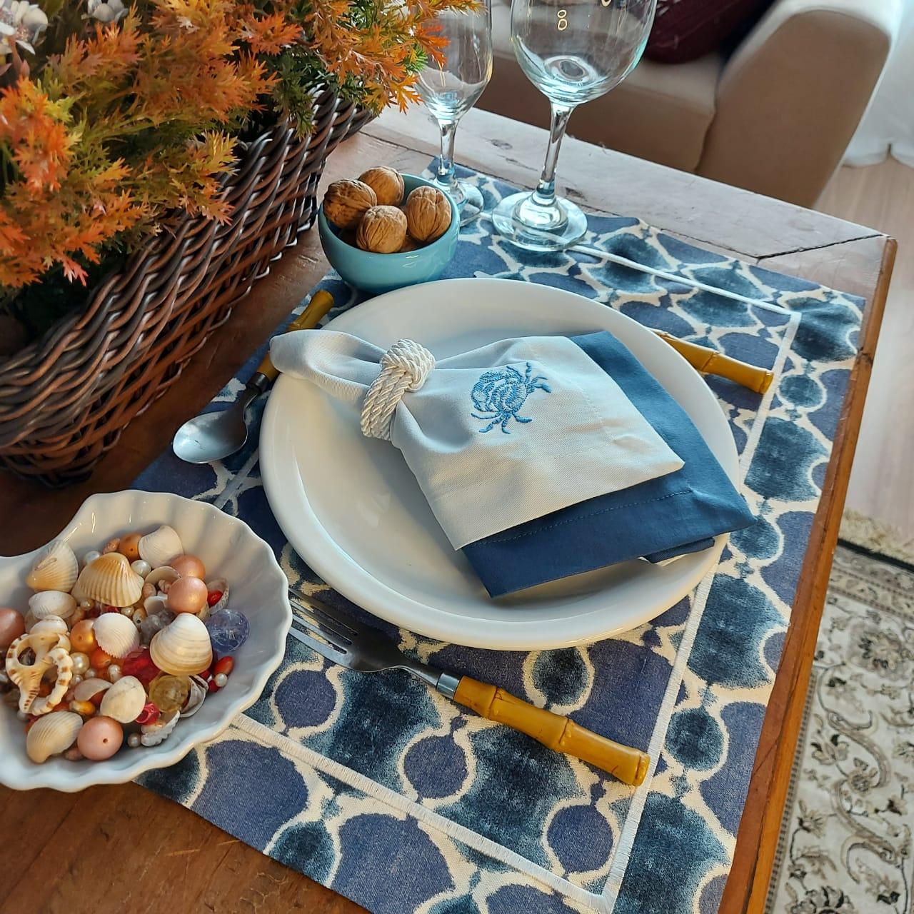 Kit Mesa Posta Completo Tecido Azul Ondas - Caranguejo (2un)