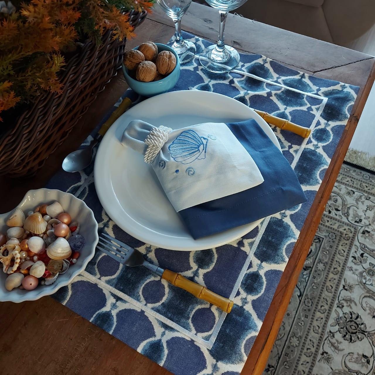 Kit Mesa Posta Completo Tecido Azul Ondas - Concha (2un)