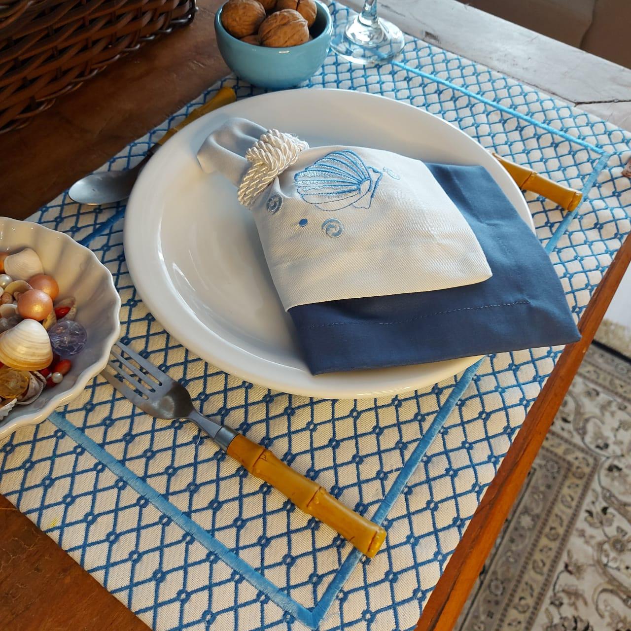 Kit Mesa Posta Completo Tecido Azul Colmeia - Concha (2un)