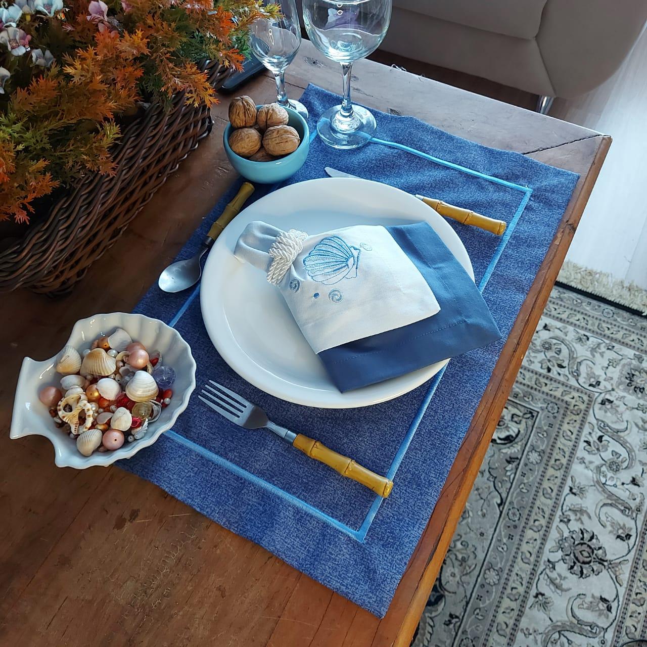 Kit Mesa Posta Completo Tecido Azul - Concha (2un)