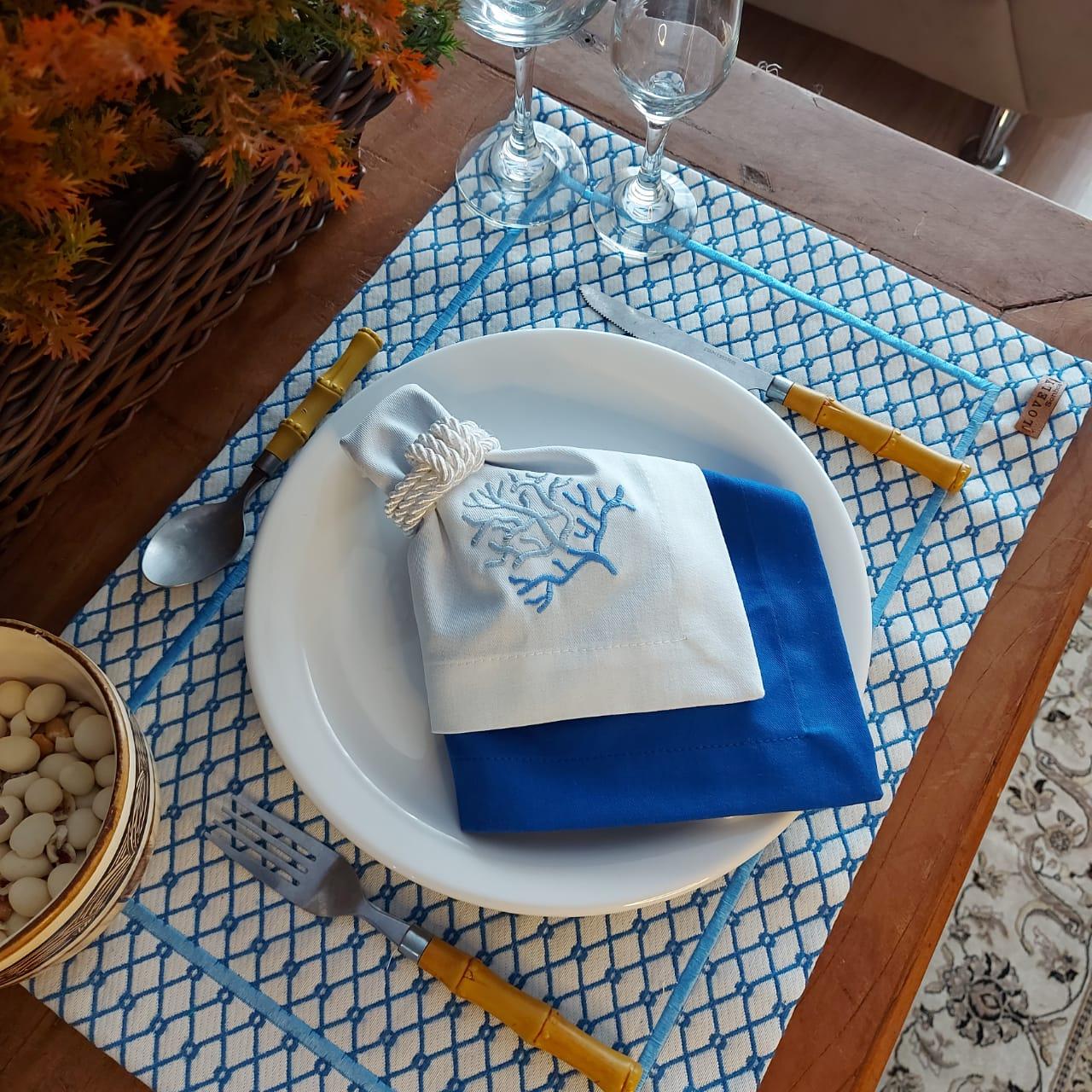 Kit Mesa Posta Completo Tecido Azul Colmeia - Coral (2un)
