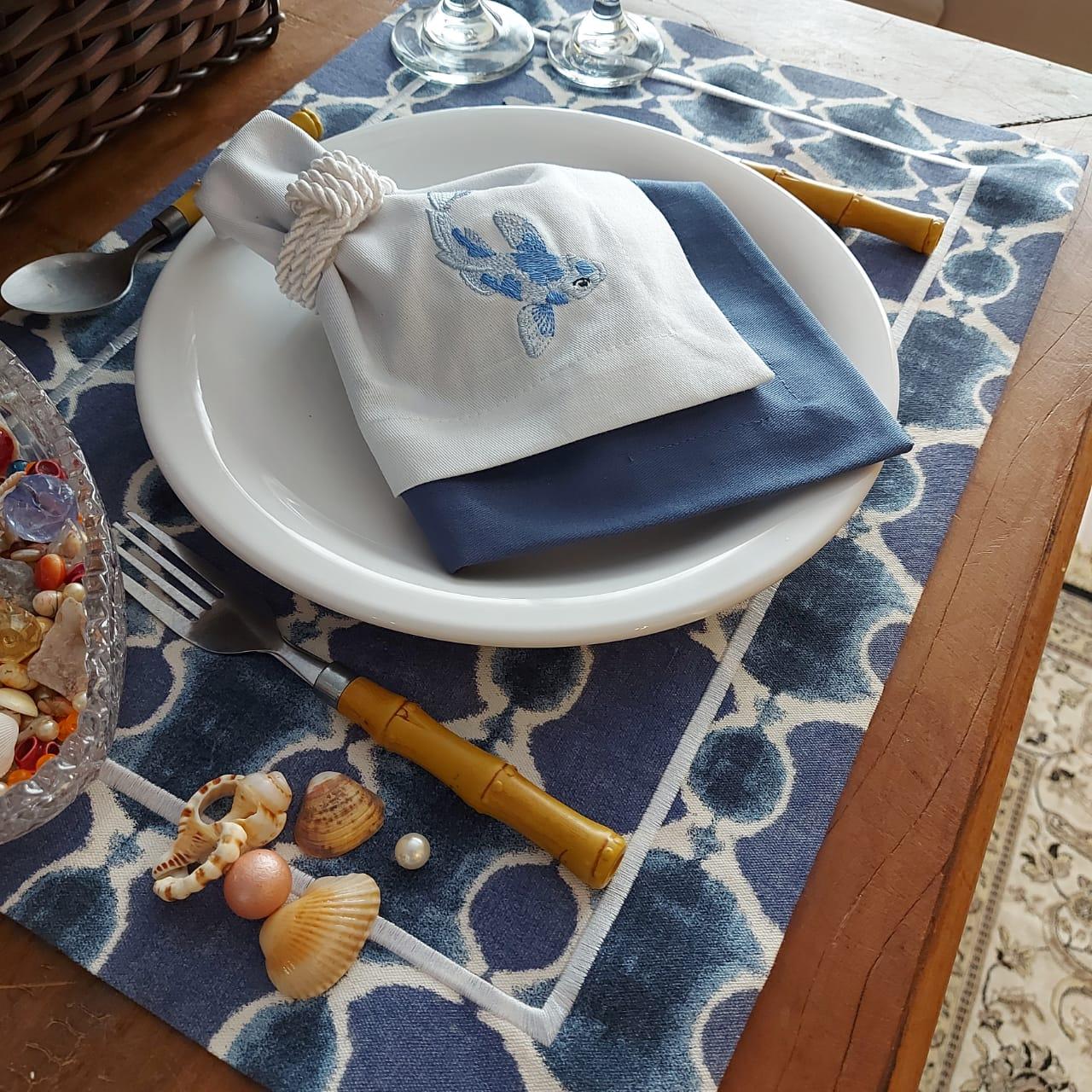 Kit Mesa Posta Completo Tecido Azul Ondas - Peixe (2un)