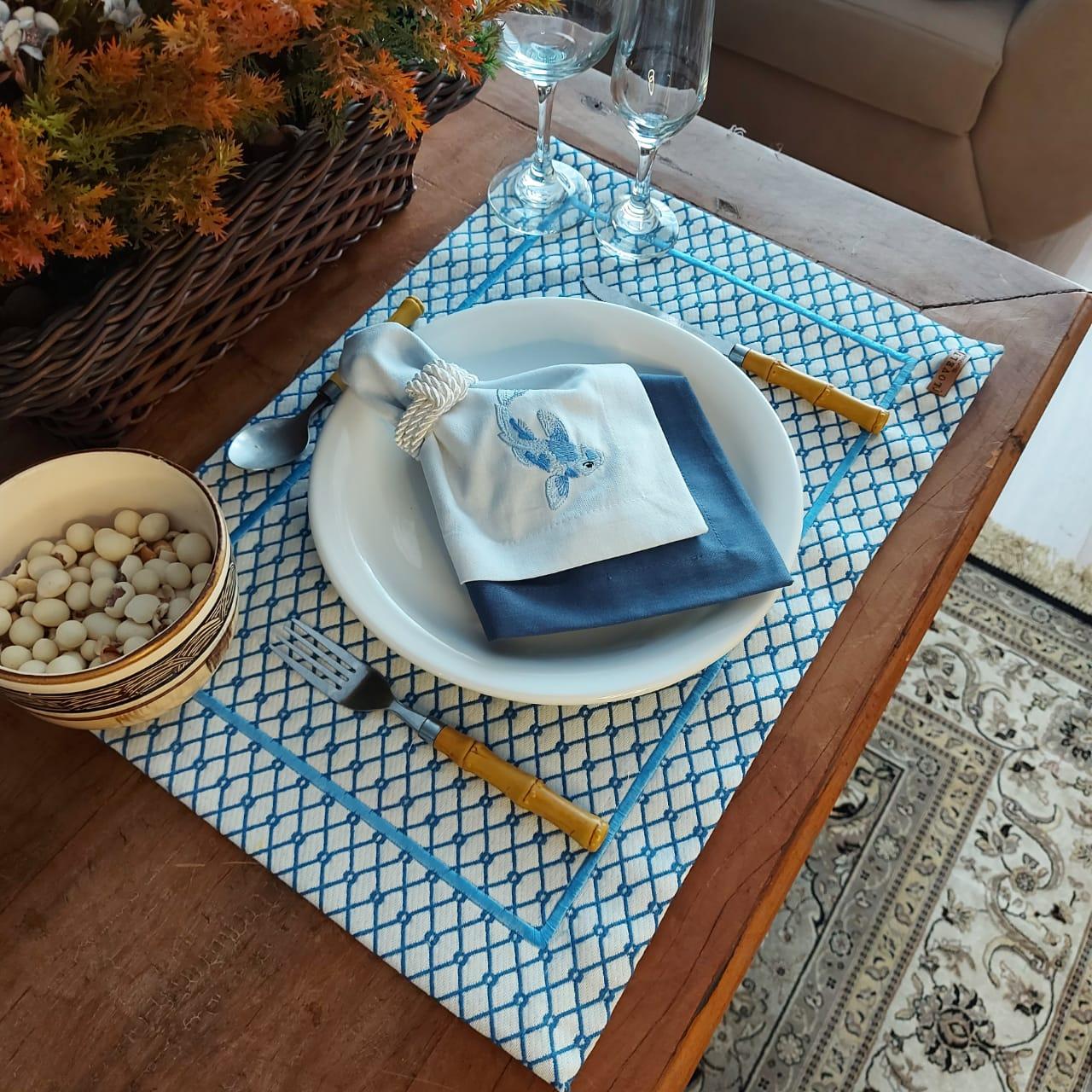 Kit Mesa Posta Completo Tecido Azul Colmeia - Peixe (2un)