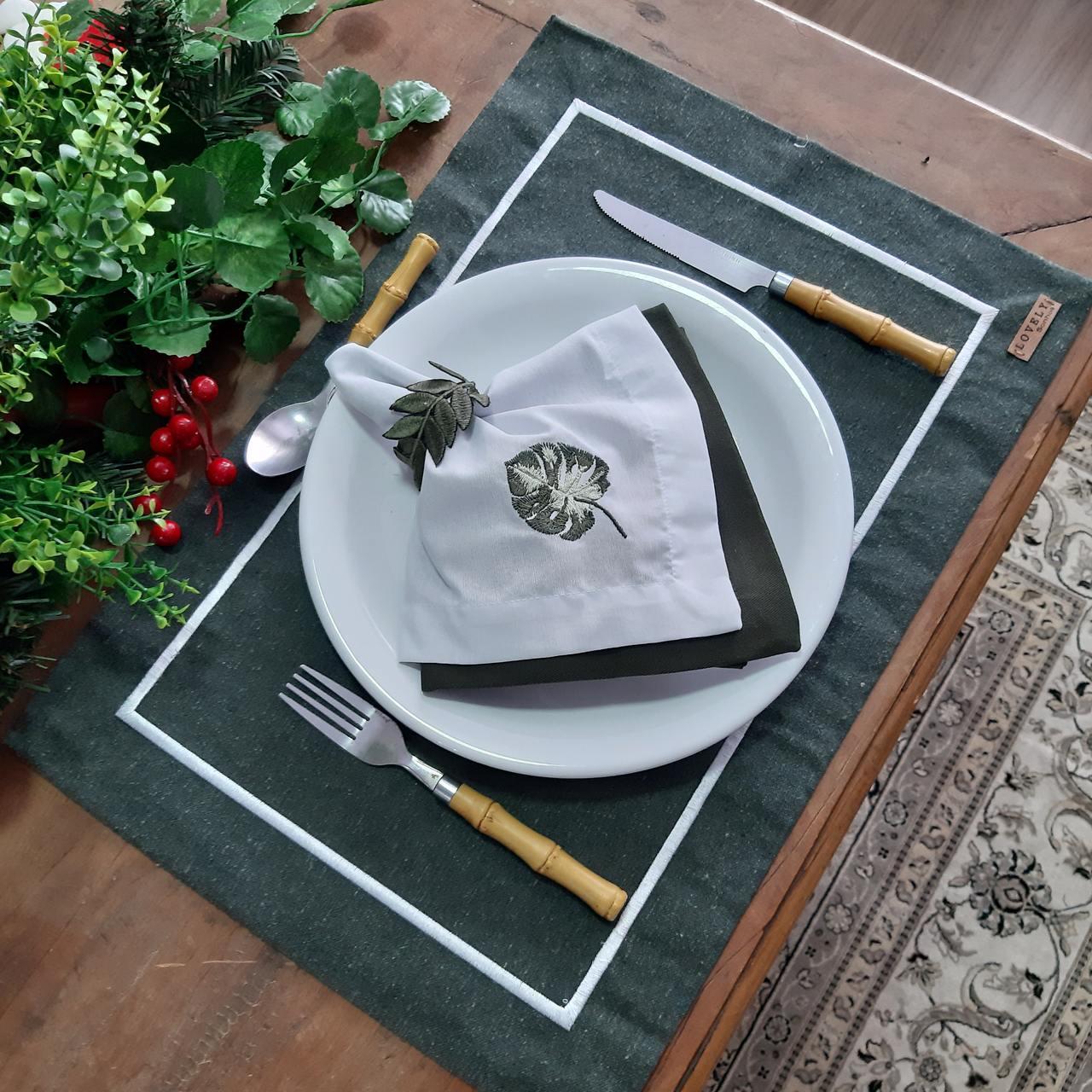 Kit Mesa Posta Completo - Costela de Adão (1 Lugar) Verde