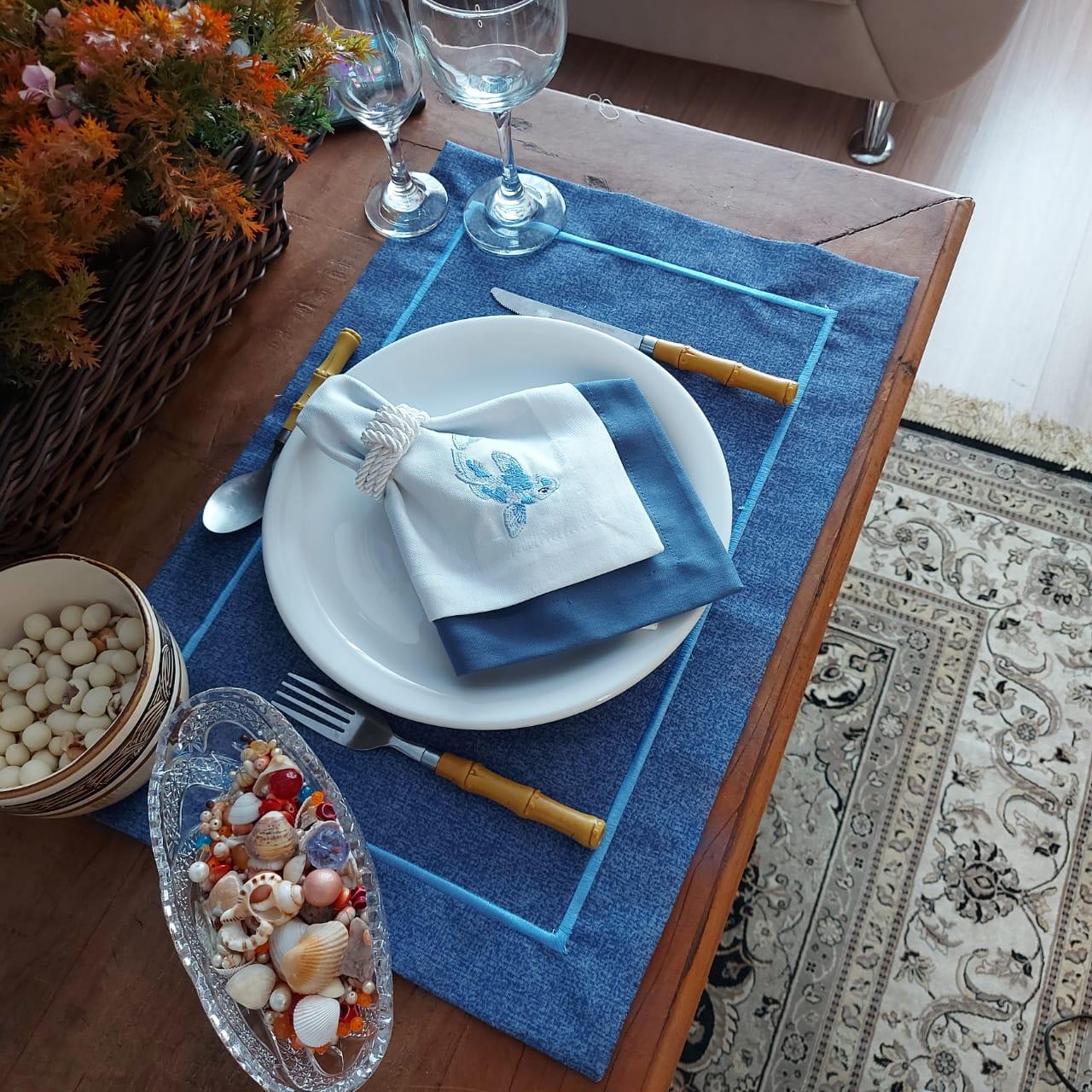 Kit Jogo Americano Canto Mitrado Tecido Azul Liso- Peixe - 1 Lugar