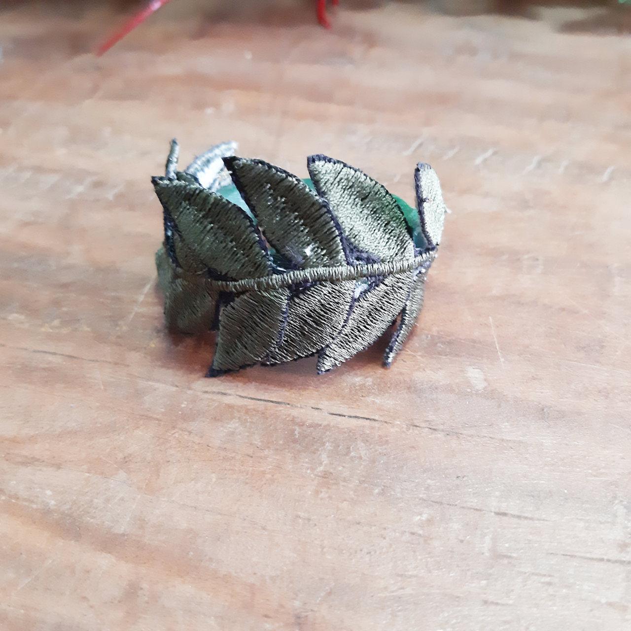Porta Guardanapo Bordado Folhagem Verde Musgo