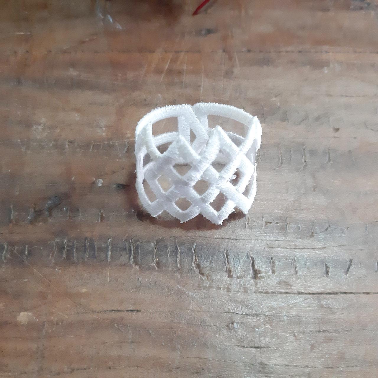 2 Porta Guardanapos Geométrico Bordado - Branco