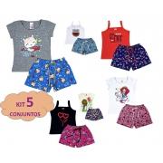 5 Conjunto Infantil Menina Roupas Crianças Feminino Verão