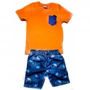 Conjunto Rovitex Infantil Menino Camiseta Laranja