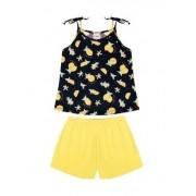 Conjunto Rovitex Menina Verão Blusa Marinho Shorts Amarelo