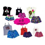 Kit 3 Conjunto Infantil Feminino Roupa De Verão Menina Lote