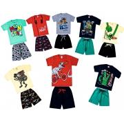 kit com 4 Conjuntos Infantis Verão para Menino.