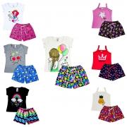 kit com 5 Conjuntos Infantil Verão Menina