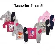 kit com 5 conjuntos meninas em estampas diferentes frio moletom