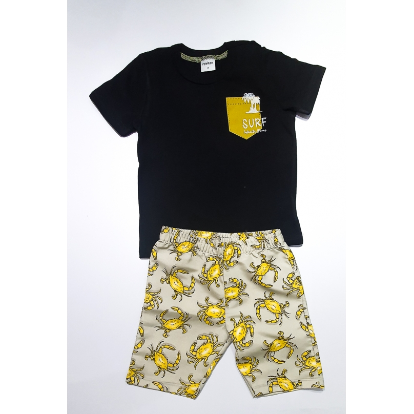 Conjunto Rovitex Infantil Menino Camiseta Preta