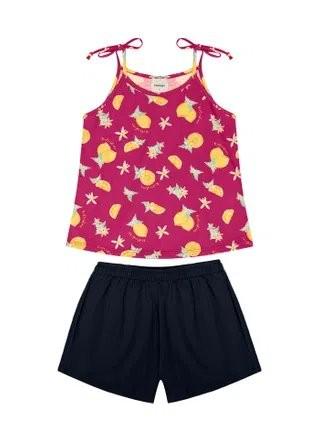 Conjunto Rovitex Menina Verão Blusa Pink Shorts Marinho