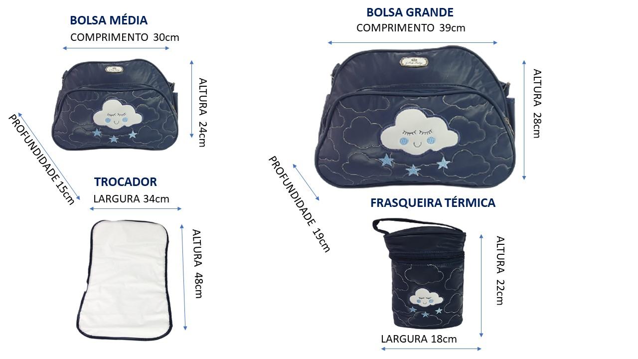 kit 05 Peças Bolsa Maternidade Nuvem