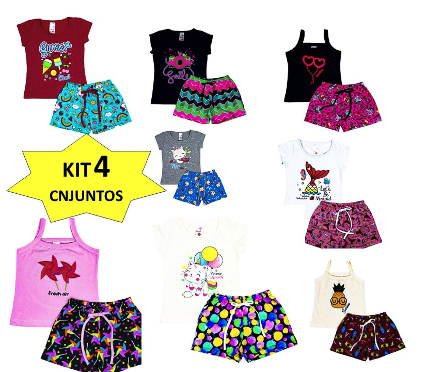 Kit 4 Conjunto Infantil Feminino Roupa De Verão Menina Lote