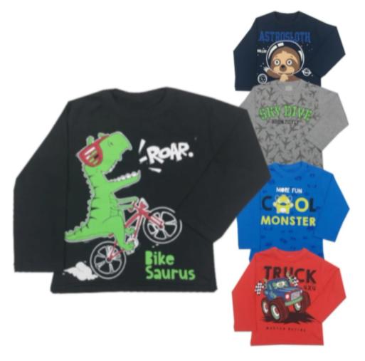 Kit 5 Camiseta Masculina Infantil Manga Longa Menino 1 Ao 8