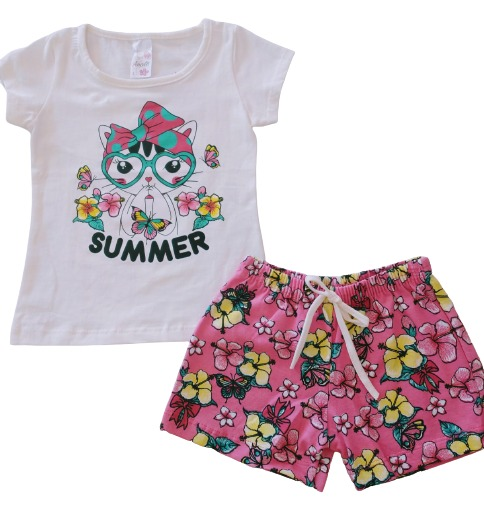 kit com 3 Conjuntos Infantil Verão Menina