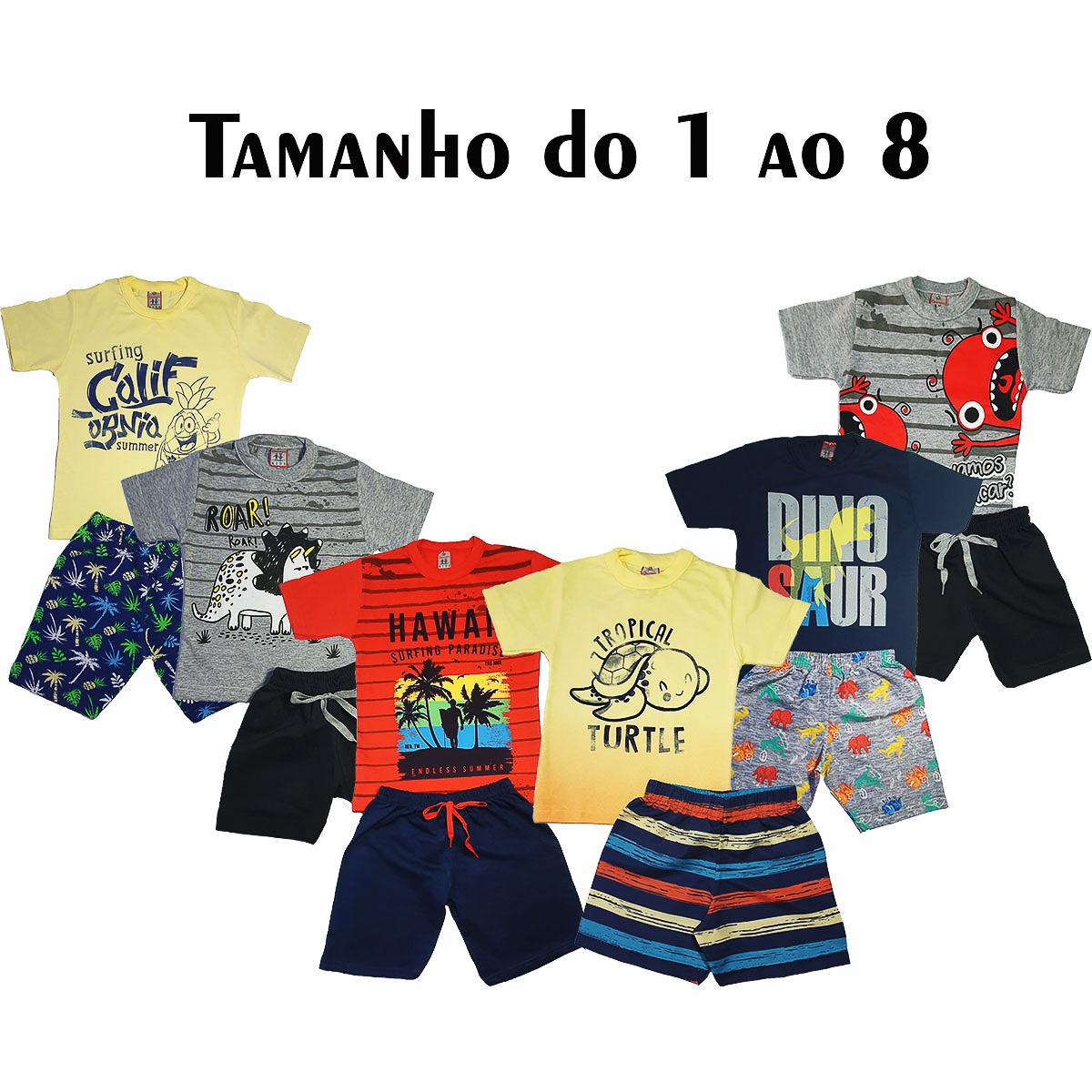 kit com 3 Conjuntos Infantis Verão para Menino.