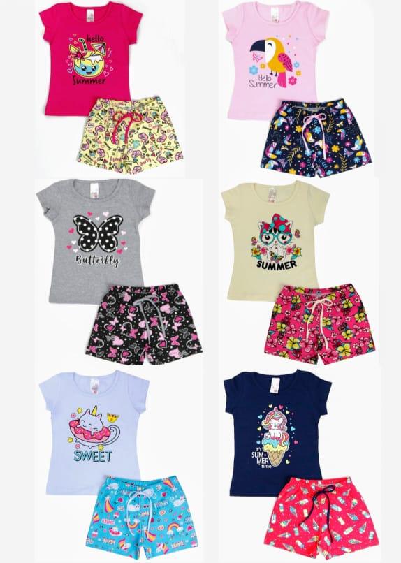 kit com 4 Conjuntos Infantil Verão Menina