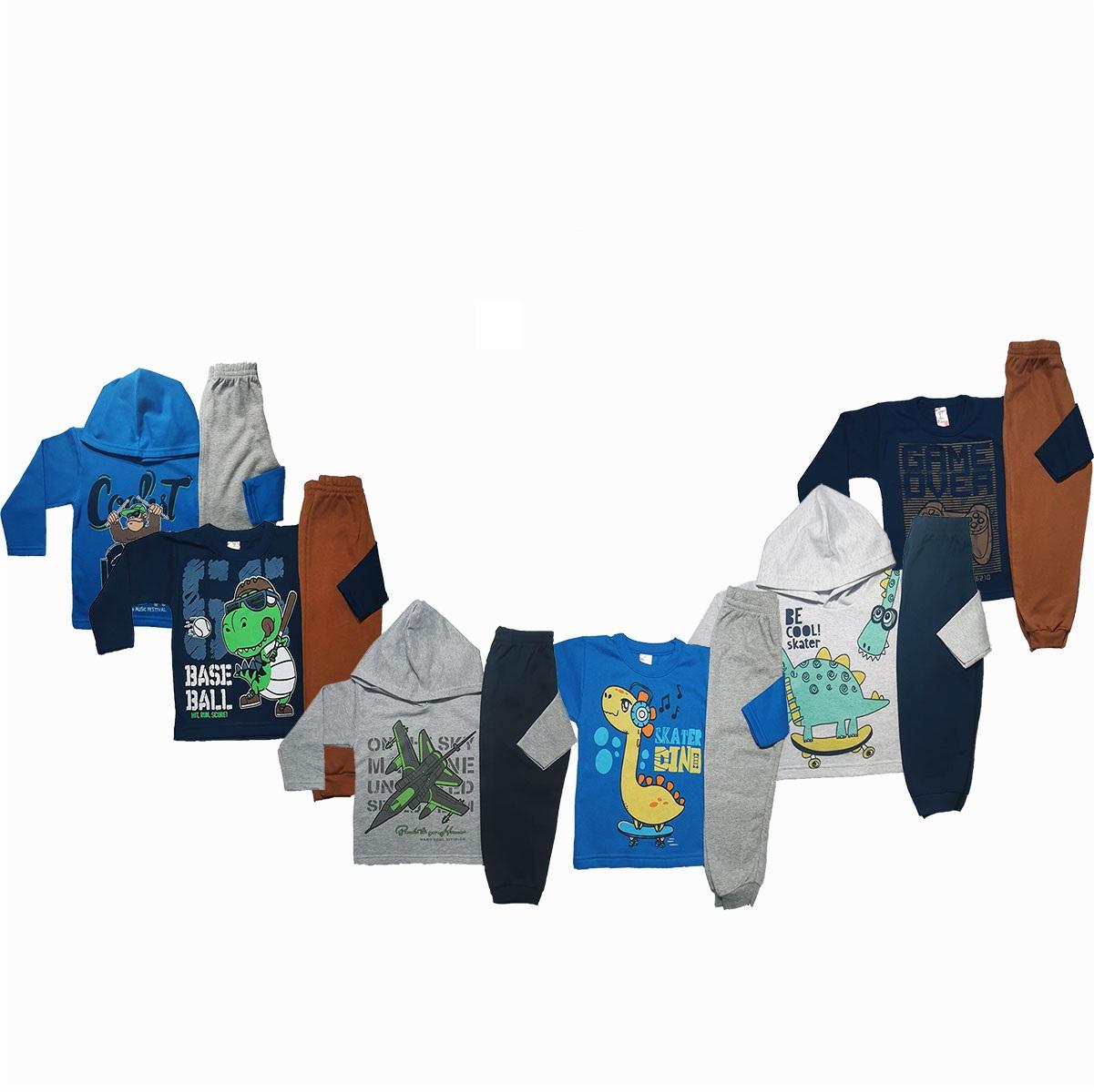 kit com 5 conjuntos meninos em estampas diferentes frio moletom