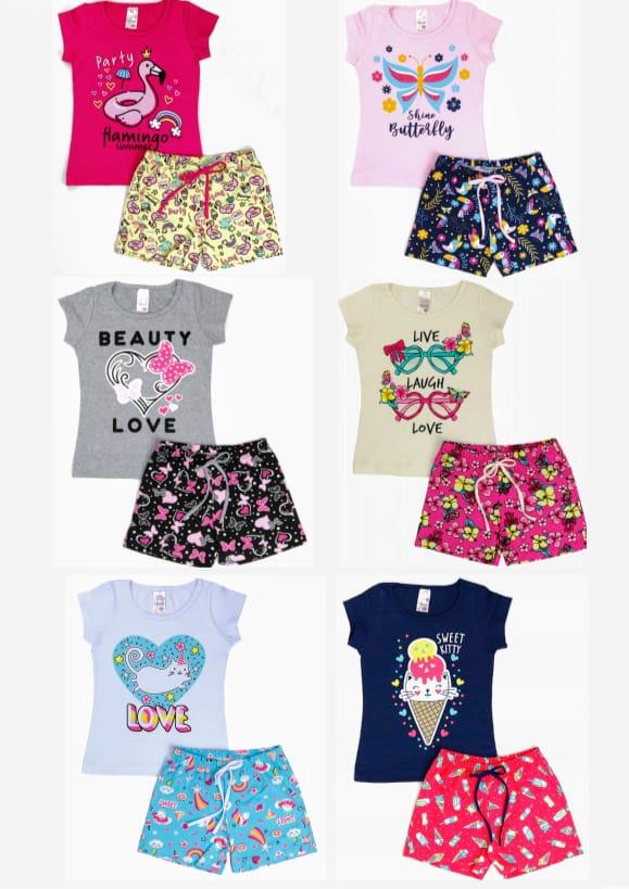 kit com 6 Conjuntos Infantil Verão Menina