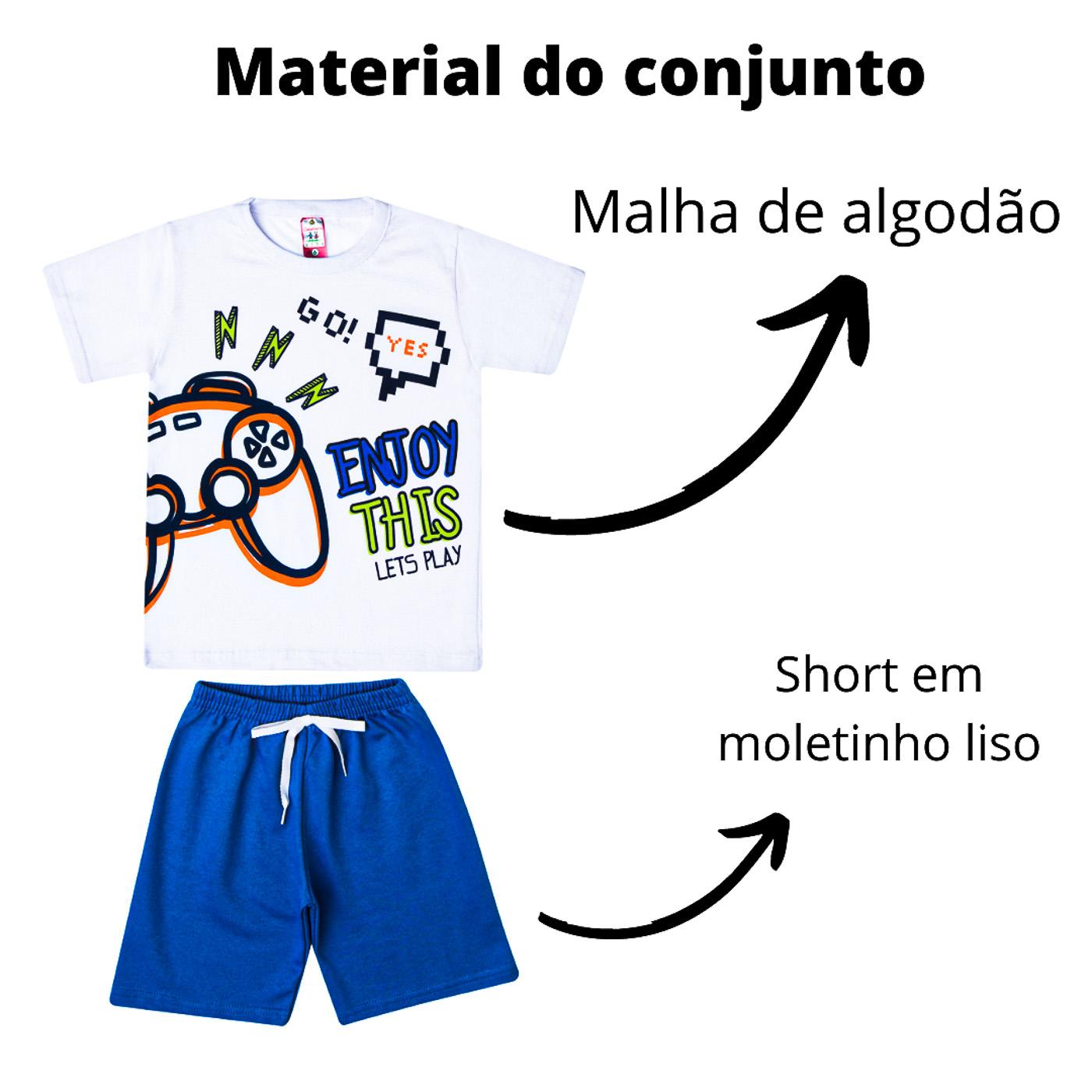 kit com 6 Conjuntos Infantis Verão para Menino. Cor:Branco;Tamanho:8
