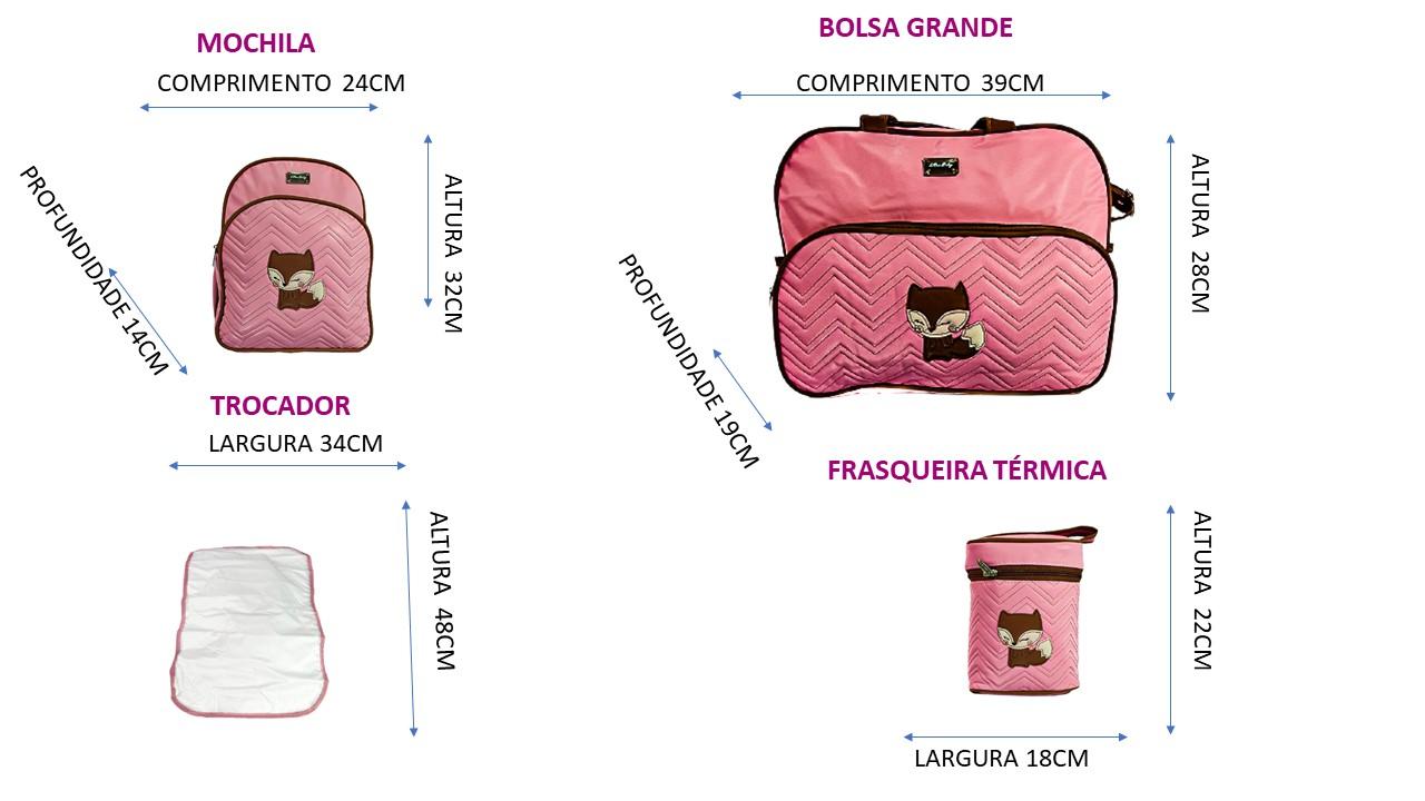 Kit Maternidade 5 Peças Raposa com Mochila