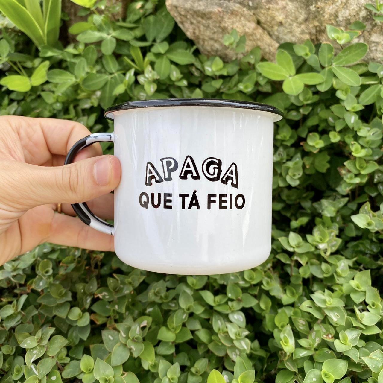 Caneca esmaltada Apaga que tá Feio