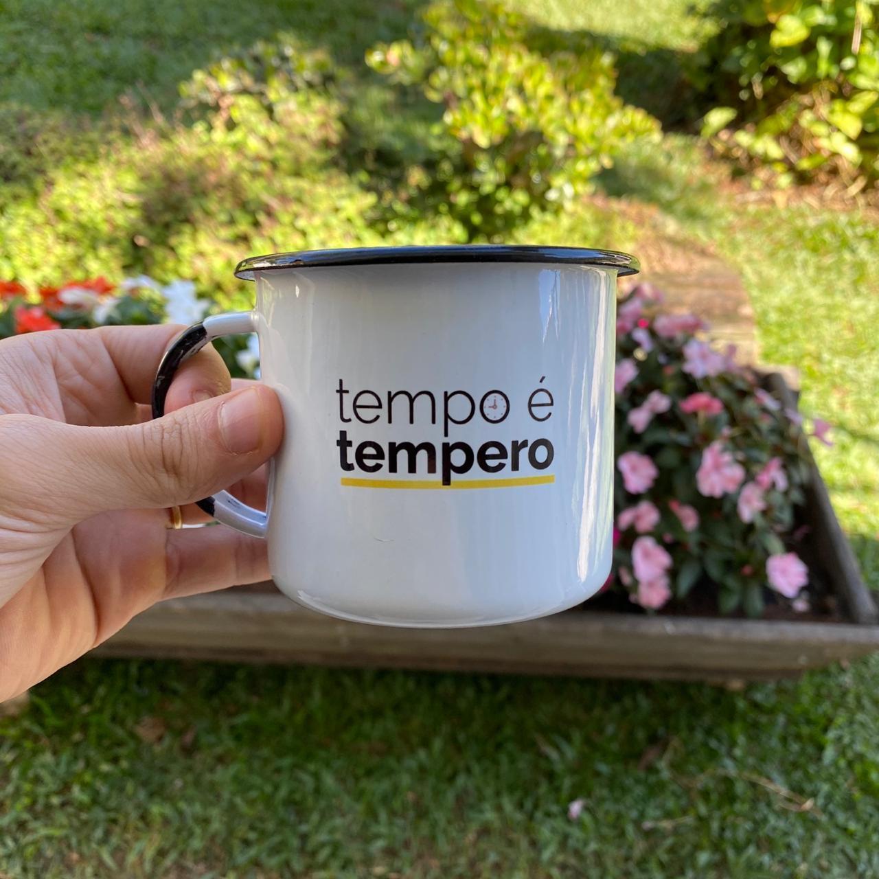 Caneca esmaltada Gheek - Tempo é Tempero