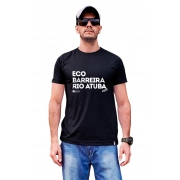 Camiseta com frase collab projeto Eco Barreira Rio Atuba preta ou branca