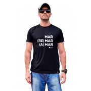Camiseta com frase mar remar e amar branca ou preta sustentável
