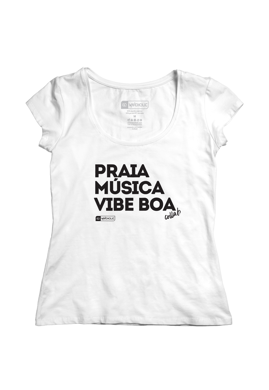 Blusa com frase praia música vibe boa preta ou branca
