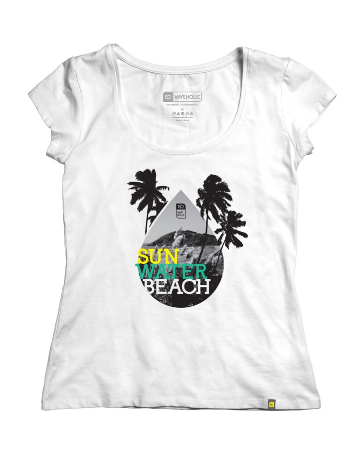 Blusa estampada branca gota de praia Ilha do Mel sustentável