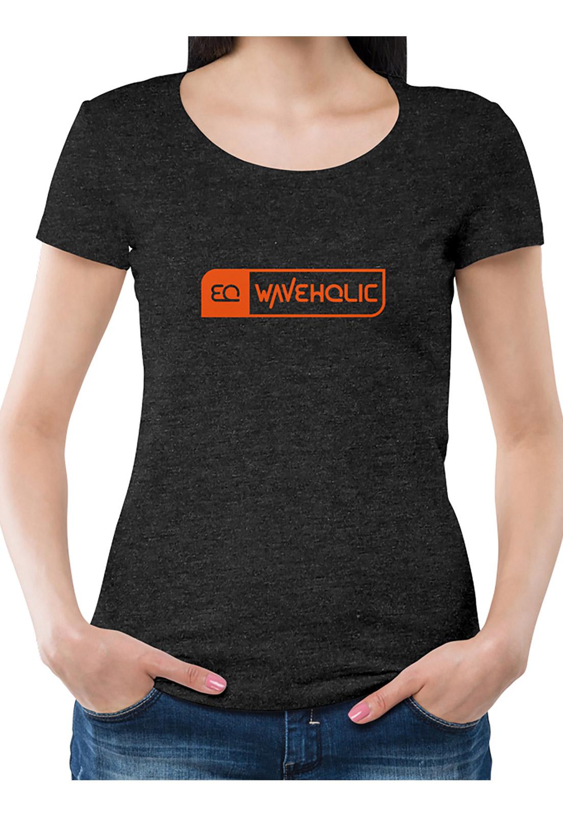 Blusa estampada sustentável preto mescla (grafite) logo laranja