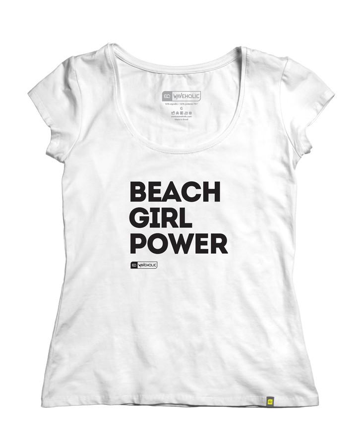 Blusa com frase beach girl power branca que preserva