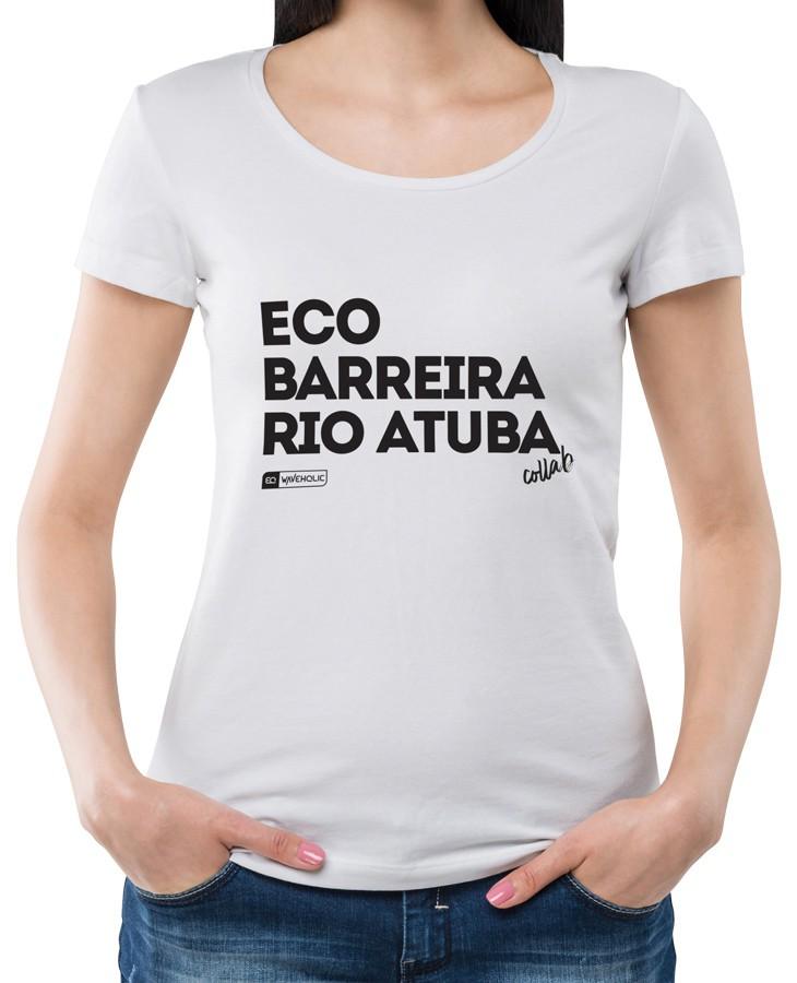 Blusa com frase collab projeto Eco Barreira Rio Atuba preta ou branca