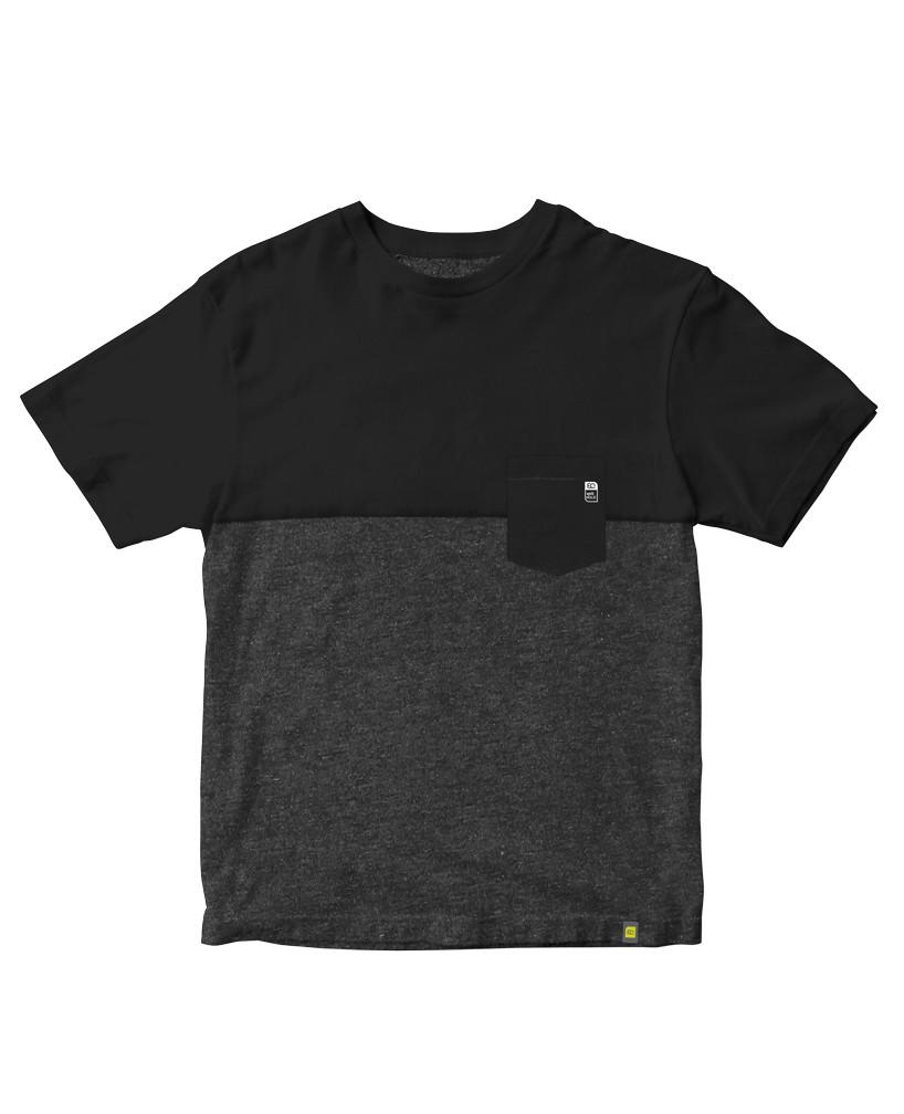 Camiseta bolso preto com mescla (grafite) em malha sustentável