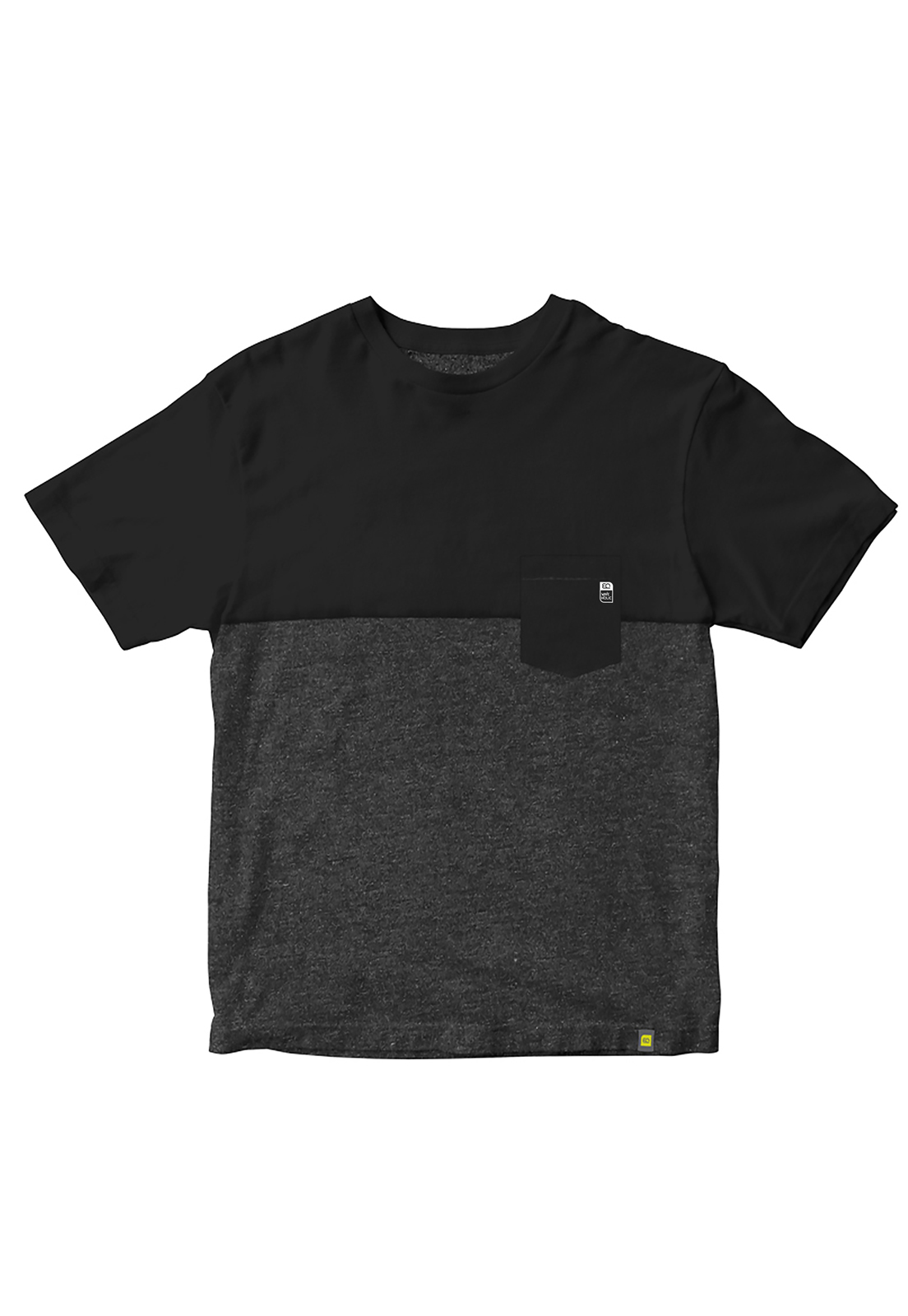 Camiseta com bolso preto com mescla (grafite) em malha sustentável
