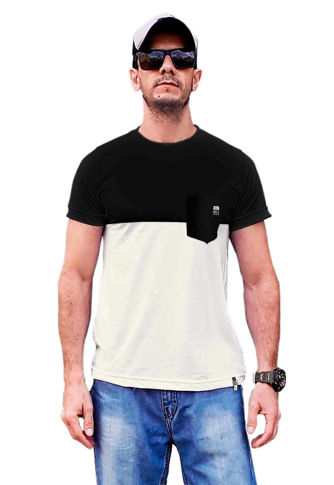 Camiseta com bolso preto e champagne sustentável e casual