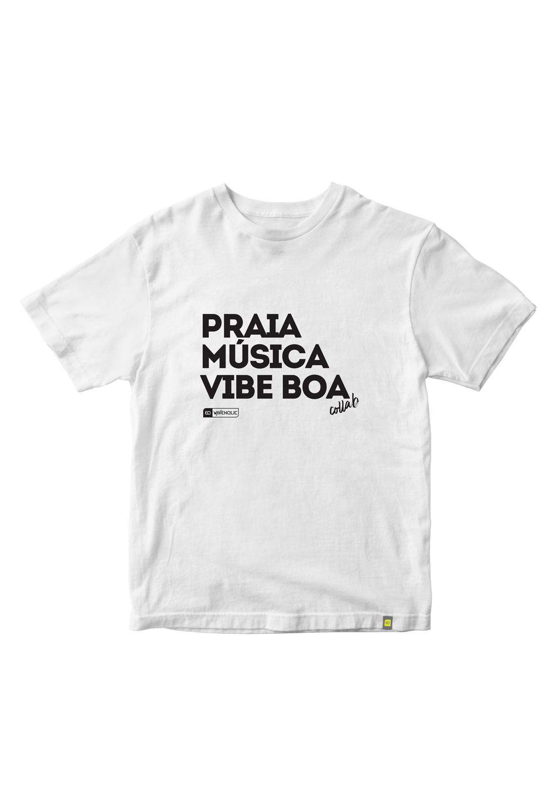 Camiseta com frase praia música vibe boa preta ou branca