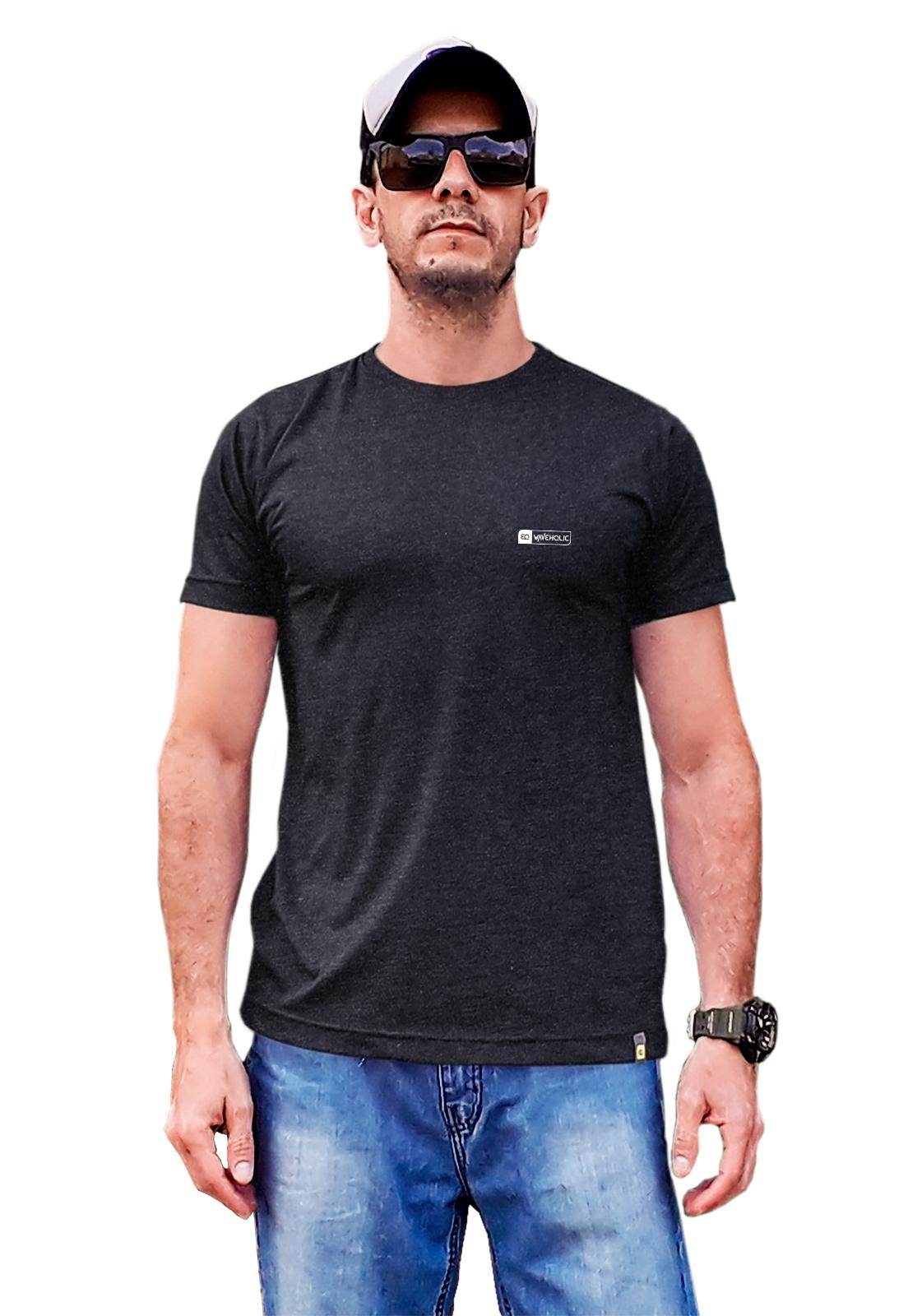 Camiseta sustentável básica preto mescla (grafite)