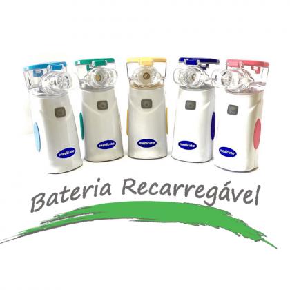 Inalador rede vibratória NACIONAL com BATERIA RECARREGÁVEL Air MESH COLORS