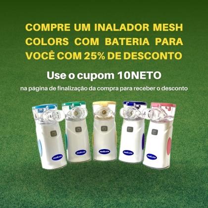 Inalador rede vibratória nacional com bateria recarregável Air Mesh Colors - Desconto Campanha Neto