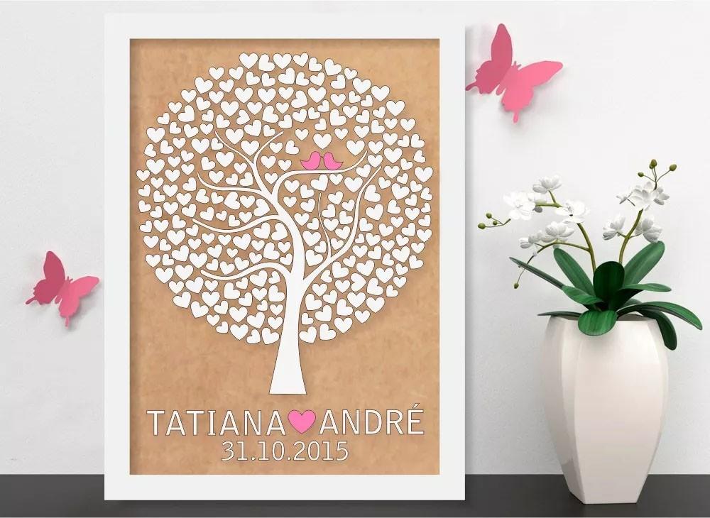 Quadro Árvore de Assinatura Premium com 100 Corações - O Queridinho dos Casamentos