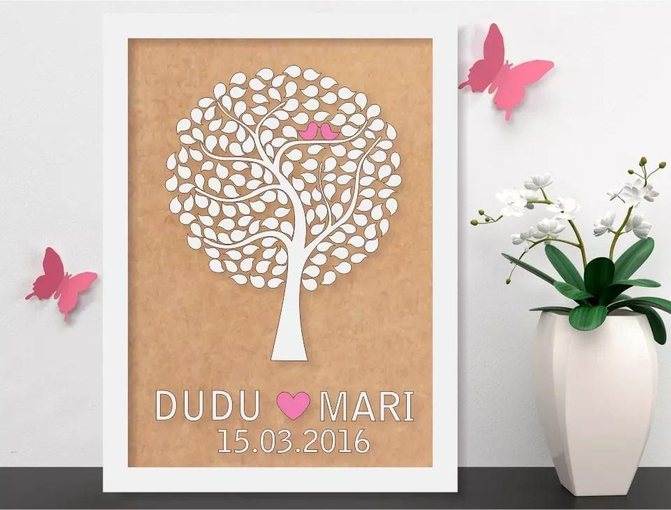 Quadro Árvore de Assinatura Premium com 100 Folhas - O Queridinho dos Casamentos